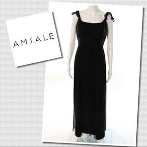 Amsale Black Silk Sleeveless Full Length Dress 10